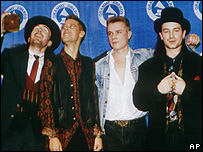 U2 at the Grammy awards in 1988