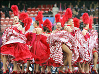 The pre-match entertainment at the Parc des Princes