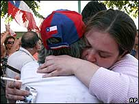 Pinochet supporters grieve outside the military hospital in Santiago