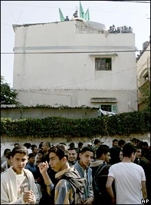 Palestinians gather at house in Beit Lahiya, Gaza