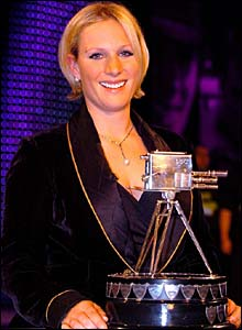 Zara Phillips poses with the BBC SPOTY trophy
