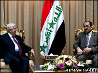 Syrian foreign minister Muallim (L) with Iraqi prime minister Maliki (R)