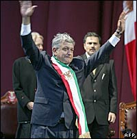 "Andres Manuel Lopez Obrador at his ""inauguration"""