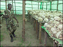 Skulls from the Rwandan genocide