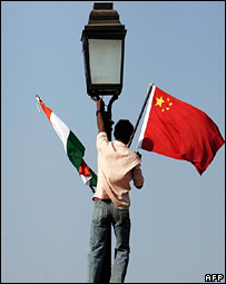 Flags of India and China being put up in Indian capital, Delhi