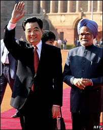 Hu Jintao with Indian PM Manmohan Singh
