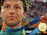 Ian Thorpe celebrates 200m gold in the Athens Olympics