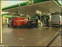 The petrol station at which the robbery took place
