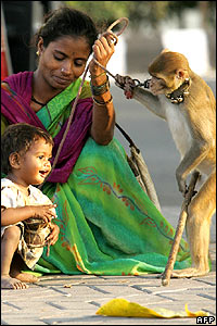 Woman with child and trained monkey in Mumbai (Bombay)