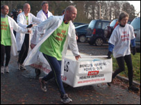 The start of the bed push. Photo: Talgarth Medical Centre