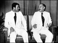 احمد حسن البكر وصدام حسين (اواسط السبعينات)