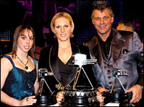 Third-placed Beth Tweddle and runner-up Darren Clarke flank winner Zara Phillips