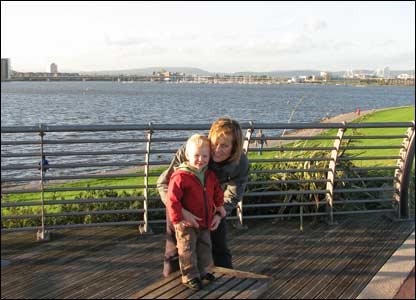 The Kendricks on holiday from France in Cardiff Bay, sent by Lisa Van Steen