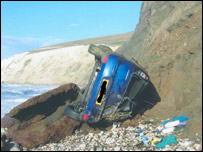 Cliff plunge car