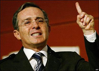 �lvaro Uribe, presidente de Colombia