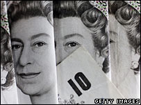 montage of 10 pound notes