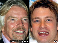 Richard Branson and Jamie Oliver