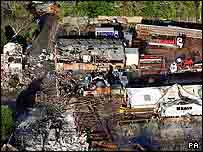 Damaged buildings at the fireworks depot