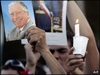 Pinochet supporters hold photographs and candles