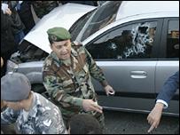 Bullet-riddled vehicle at scene of Gemayel's assassination