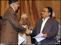 PM Koirala and rebel leader Prachanda