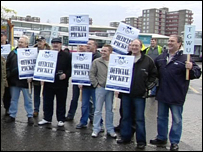 Drivers at the picket line