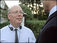Julian Fellowes on the set of Separate Lies