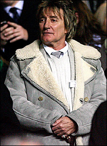 Rod Stewart watching the action at Celtic Park