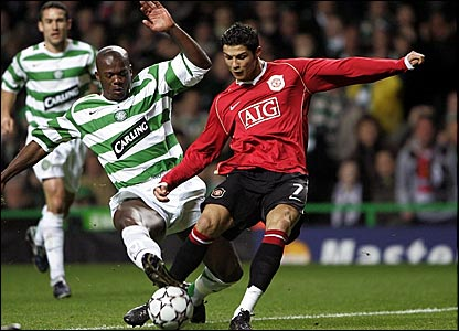 Celtic defender Bobo Balde (left) and Manchester United winger Cristiano Ronaldo