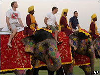 England cricket team members on elephants in India