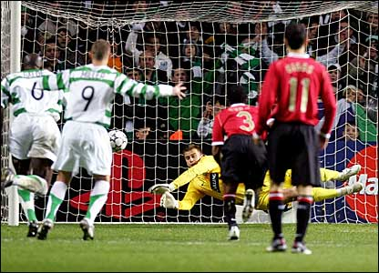 Celtic goalkeeper Artur Boruc saves Louis Saha's (not pictured) penalty