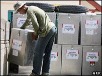 Ballot boxes in Aceh - 10/12/06