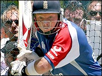 Ian Bell bats in practice on Wednesday