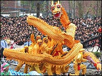 File photo of dragon dance in east China's Zhejiang province