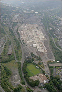 Ariel view of the former steelworks site at Ebbw Vale