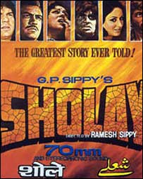 1975 hit Sholay poster