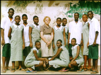 Sheila Solarin with pupils