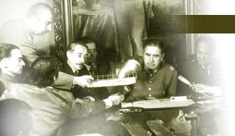 Reunión de Augusto Pinochet con los demás jefes golpistas