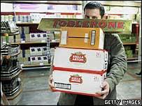 Customer at a Calais hypermarket