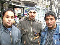 Boris Petrov, left, with two friends