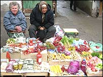 Vendors at the fruit and vegetable market in Sofia