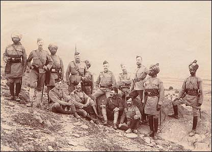 Colonel Meiklejohn (seated centre) with officers of the Malakand garrison