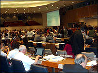 Delegates discussing the draft convention at the UN in New York