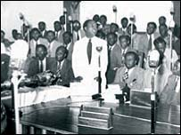 Kwame Nkrumah is sworn in as Ghana's first president