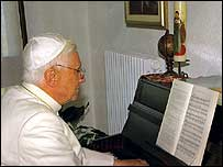 Pope Benedict at the piano - the photo for December 2007 (image by permission of the photographer, Giancarlo Giuliani)