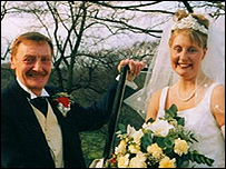 Sharon Beshenivsky with her father at her wedding to husband Paul