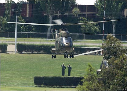 Helicopter with Gen Pinochet's coffin