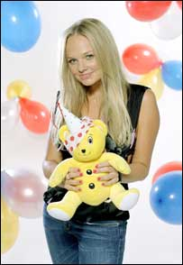 Emma Bunton and Pudsey Bear (Pic: BBC/Justin Canning)