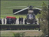 Helicóptero que trasladó los restos de Pinochet