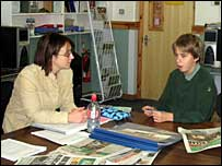 BBC journalist Naomi Kennedy with Richard from Coombeshead College in Newton Abbot, Devon